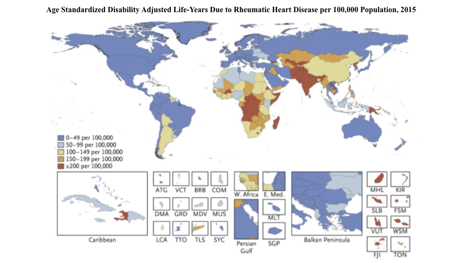 Age Standardized Disability Adjusted Life-Years Due to Rheumatic Heart Disease per 100,000 Population, 2015